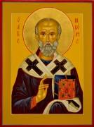 Рукописная икона Николай Чудотворец под старину 92 (Размер 19*25 см)
