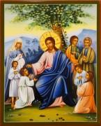 Рукописная икона Благословение детей 2 (Размер 17.5*21 см)