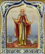 Рукописная икона Сергий Радонежский с резьбой 34 (Размер 27*31 см)