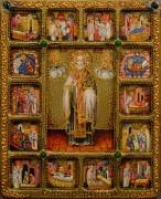 Икона Николай Чудотворец с Житием камни