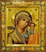 Рукописная Казанская икона с резьбой 73 (Размер 27*31 см)