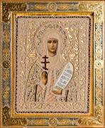 Рукописная икона Наталия с жемчужным окладом (Размер 27*35 см)