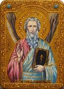 Икона ручной работы Андрей Первозванный с камнями 2 (Размер 21*29 см)