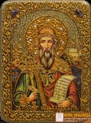 Икона ручной работы князь Владимир с камнями