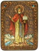 Икона ручной работы Даниил Московский с камнями
