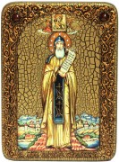 Икона ручной работы Никита Столпник с камнями