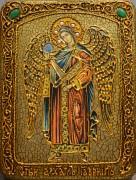 Икона ручной работы Архангел Гавриил с камнями