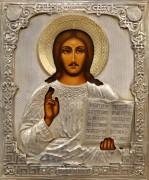 Рукописная икона Спас Вседержитель с окладом (Размер 22*27 см)