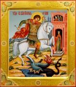 Рукописная икона Чудо Георгия о змии 23 (Размер 27*31 см)