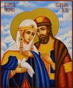 Рукописная икона Петр и Феврония 133 (Размер 17*21 см)