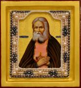 Рукописная икона Серафим Саровский с жемчугом (Размер 13*14 см)