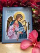Рукописная икона Ангел Хранитель с Душой 143 (Размер 17*21 см)