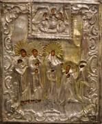 Рукописная икона Явление Богородицы Сергию Радонежскому в окладе 19 в (Размер 27*32 см)