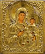Рукописная икона Смоленская в окладе 19 века (Размер 26.5*32 см)