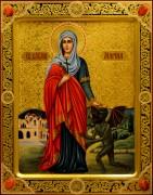 Рукописная икона Марина Антиохийская с сердоликами