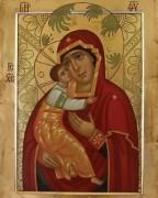 Рукописная икона Горбацевичская Божия Матерь