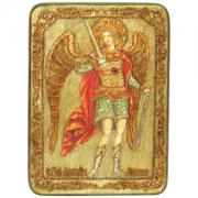 Икона ручной работы Архангел Михаил камни