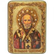 Икона Николай Чудотворец с камнями