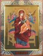 Рукописная икона Всецарица с резьбой