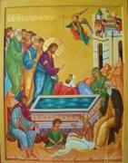 Рукописная икона Исцеление Расслабленного