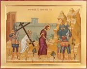 Рукописная икона Несение Креста
