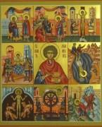 Рукописная икона Пантелеймон с клеймами