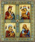 Рукописная икона Четырехчастная