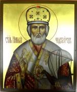 Рукописная икона Николай Чудотворец с ладьей