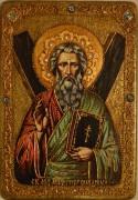 Икона ручной работы Апостол Андрей Первозванный, с натуральными камнями