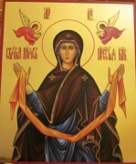 Рукописная икона Пояс Пресвятой Богородицы