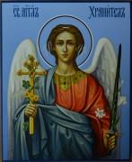 Рукописная икона Ангел Хранитель синий фон