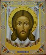 Рукописная икона Спас Нерукотворный на убрусе резьба (Размер 21*25 см)