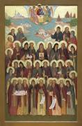 Рукописная икона Карельские святые