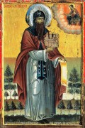 Рукописная икона Симеон Босой Афонский