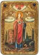 Икона ручной работы Святая Варвара Илиопольская, с натуральными камнями