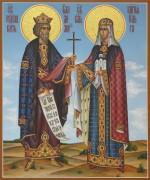 Рукописная икона Владимир и Ольга Равноапостольные