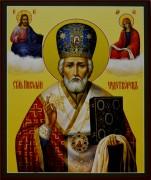 Рукописная икона Николай Чудотворец с Предстоящими