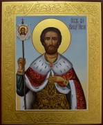 Рукописная икона Александр Невский резьба