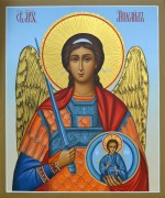 Рукописная икона Архангел Михаил резьба