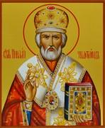Рукописная икона Николая Чудотворца живопись