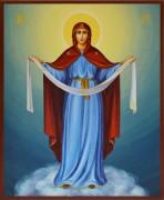 Рукописная икона Покров Пресвятой Богородицы