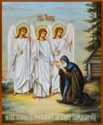 Рукописная икона Явление Святой Троицы Александру Свирскому