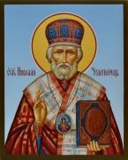 Рукописная икона Николай Чудотворец 4