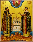 Рукописная икона Петр и Феврония золото 45