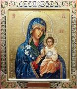 Рукописная икона Неувядаемый Цвет с резьбой 11