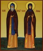 Рукописная икона Кирилл и Мария Радонежские