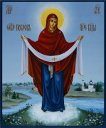 Рукописная икона Покров Богородицы 4