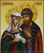 Рукописная икона Петр и Феврония с голубем и узором 42