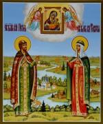 Рукописная икона Петр и Феврония с пейзажем 44