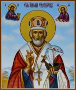 Рукописная икона Николай Чудотворец с ладьей 10